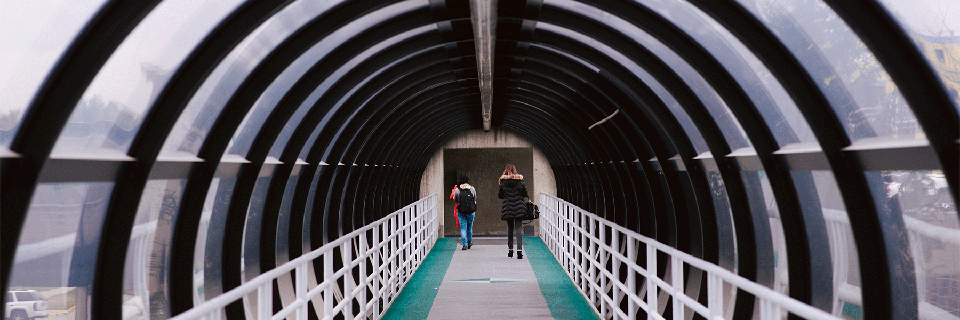 Two students walking through one of the gerbil tunnels.